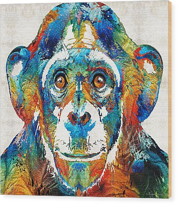 Colorful Chimp Art - Monkey Business - By Sharon Cummings Wood Print by Sharon Cummings