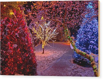 Colorful Christmas Lights On Trees Wood Print by Brch Photography