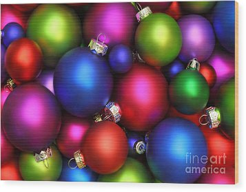Colorful Christmas Ornaments Wood Print