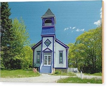 Colorful Church Wood Print by Cathy Kovarik