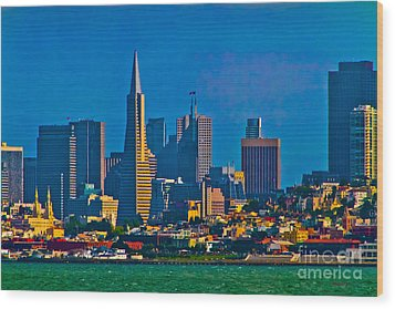 Colorful City By The Bay Wood Print by Mitch Shindelbower