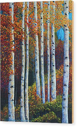 Colorful Colordo Aspens Wood Print by Jennifer Godshalk