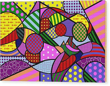 Colorful Couple 1 V-1 Wood Print
