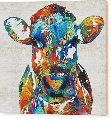 Colorful Cow Art - Mootown - By Sharon Cummings Wood Print