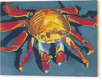 Colorful Crab Wood Print by Stephen Anderson