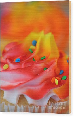 Colorful Cup Cake Wood Print by Darren Fisher
