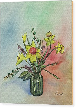Colorful Daffodil Flowers In A Vase Wood Print by Prashant Shah