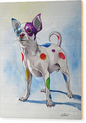 Colorful Dalmatian Chihuahua Wood Print