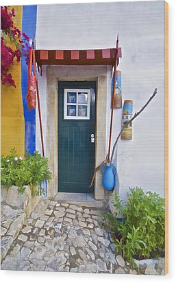 Colorful Door Of Obidos Wood Print by David Letts
