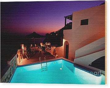 Colorful Dusk In Santorini Wood Print by Aiolos Greek Collections
