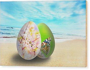 Colorful Easter Eggs On Sunny Beach Wood Print by Michal Bednarek