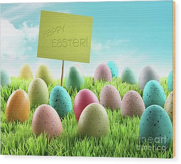 Colorful Easter Eggs With Sign In A Field Wood Print by Sandra Cunningham