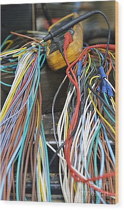 Colorful Electrical Wires And A Voltmeter Wood Print by Sami Sarkis