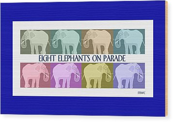 Colorful Elephants Wood Print by Marian Cates