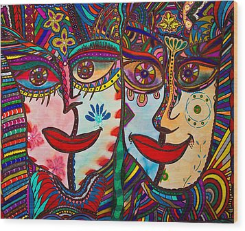 Colorful Faces Gazing - Ink Abstract Faces Wood Print