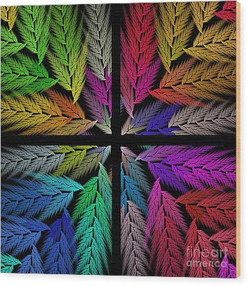 Colorful Feather Fern - 4 X 4 - Abstract - Fractal Art - Square Wood Print by Andee Design
