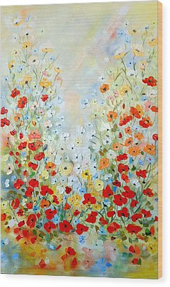 Colorful Field Of Poppies Wood Print