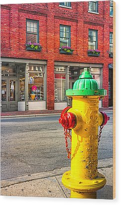 Colorful Fire Hydrant On The Streets Of Asheville Wood Print by Mark E Tisdale