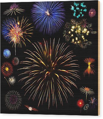 Colorful Are Fireworks Wood Print by Stanley Mathis