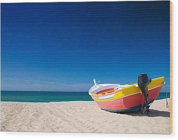 Colorful Fishing Boat Algarve Portugal Wood Print by Amanda Elwell