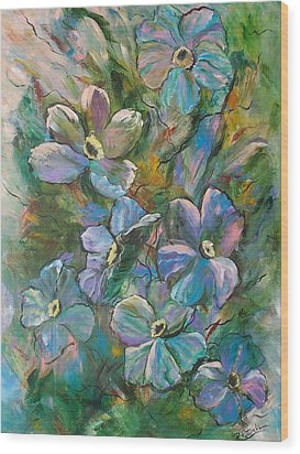 Colorful Floral Wood Print by Roberta Rotunda