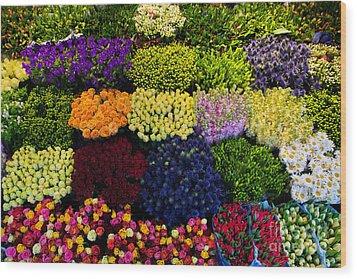 Colorful Flowers Background Wood Print by Michal Bednarek