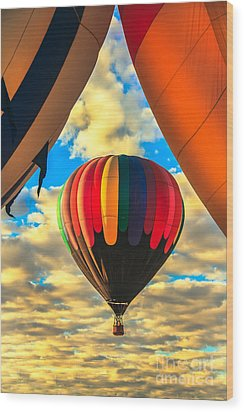 Colorful Framed Hot Air Balloon Wood Print by Robert Bales