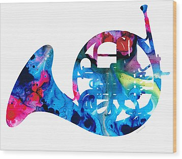 Colorful French Horn 2 - Cool Colors Abstract Art Sharon Cummings Wood Print by Sharon Cummings
