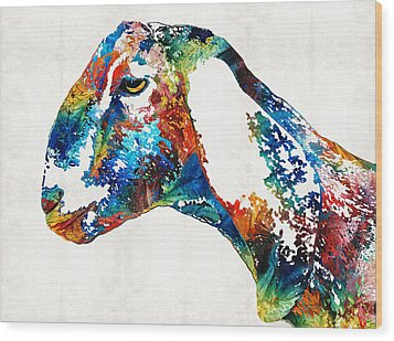 Colorful Goat Art By Sharon Cummings Wood Print