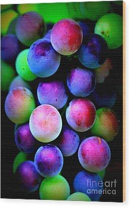 Colorful Grapes - Digital Art Wood Print by Carol Groenen
