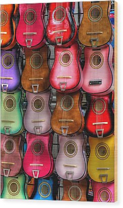 Colorful Guitars Wood Print by Tony  Colvin