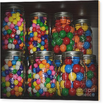 Colorful Gumballs Wood Print by Paul Ward