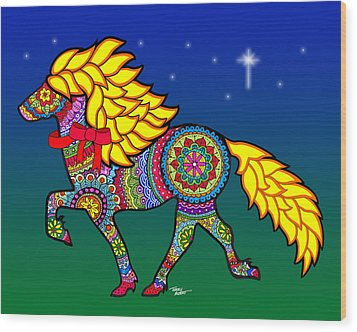 Colorful Horse Tangle Design Wood Print