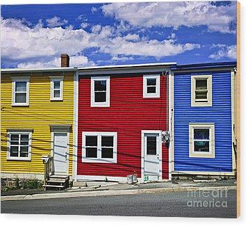 Colorful Houses In St. John's Newfoundland Wood Print by Elena Elisseeva