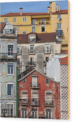 Colorful Houses In The City Of Lisbon Wood Print by Artur Bogacki