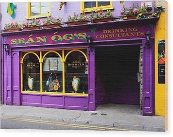 Colorful Irish Pub Wood Print