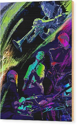 Colorful Jazz Wood Print