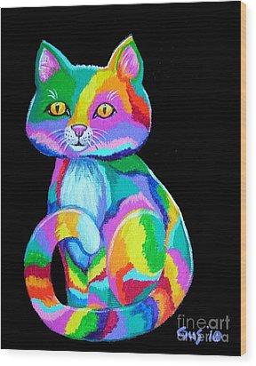 Colorful Kitten Wood Print by Nick Gustafson