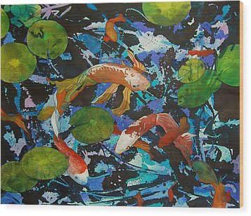Colorful Koi Wood Print by Terry Holliday