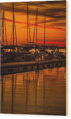 Colorful Lake Norman Sunset Wood Print