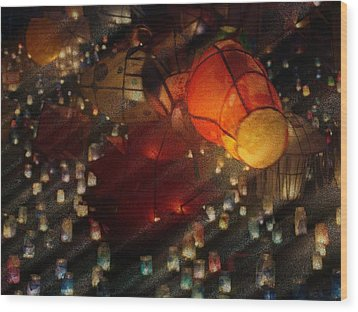 Colorful Lanterns Wood Print