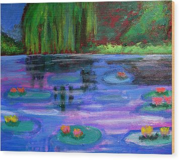 Colorful Lilly  Pad Flowers After Monet Wood Print by Diana Riukas