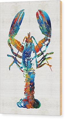 Colorful Lobster Art By Sharon Cummings Wood Print by Sharon Cummings