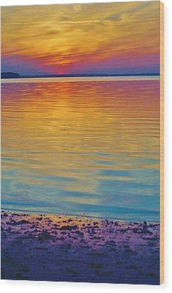 Colorful Lowtide Sunset Wood Print by William Bartholomew