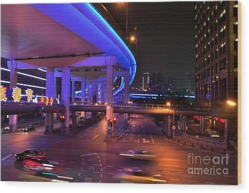 Colorful Night Traffic Scene In Shanghai China Wood Print by Imran Ahmed