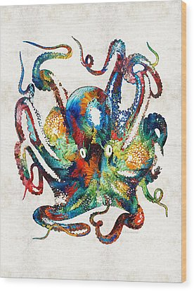 Colorful Octopus Art By Sharon Cummings Wood Print by Sharon Cummings