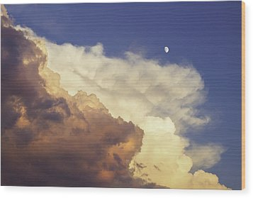 Colorful Orange Magenta Storm Clouds Moon At Sunset Wood Print by Keith Webber Jr