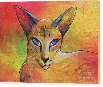 Colorful Oriental Shorthair Cat Painting Wood Print by Svetlana Novikova