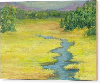 Colorful Original Landscape Painting Mountain Meadow Wood Print