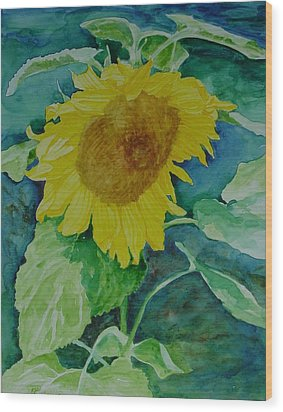 Colorful Original Watercolor Sunflower Wood Print